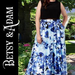 💼Betsy & Adam Illusion Floral Print maxi dress